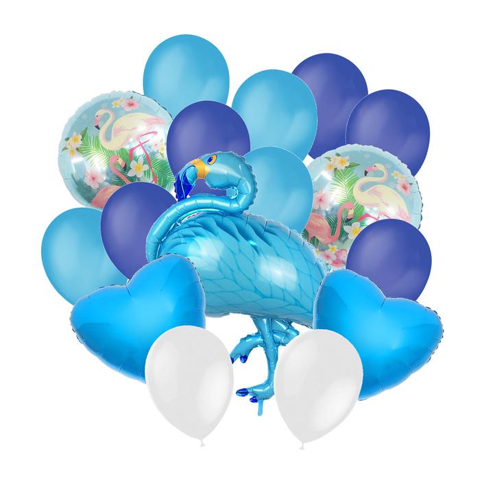 """Букет из шаров """"Фламинго"""", фольга, латекс, набор 16 шт, цвет голубой"""
