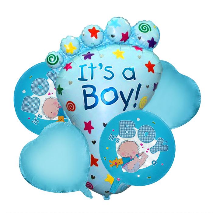 """Букет из шаров """"Рождение мальчика"""", пяточка, фольга, набор из 5 шт."""