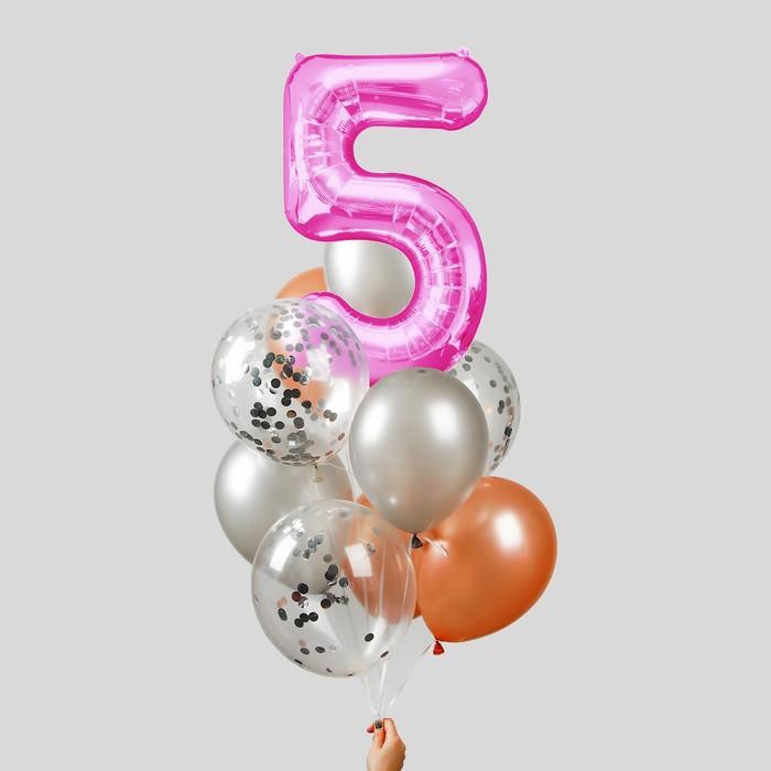 """Фонтан из шаров """"5 лет"""", для девочки, латекс, фольга, 10 шт."""