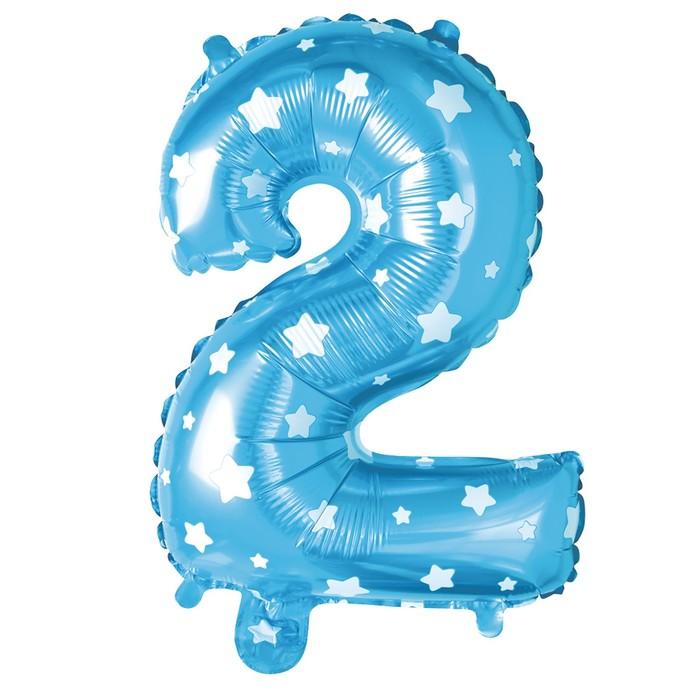 """Букет из шаров """"2"""", цифра, фольга, латекс, набор 9 шт, цвет голубой, звёзды"""