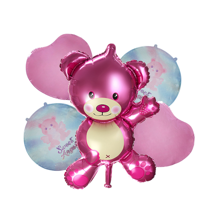 """Букет из шаров """"Медвежонок"""", розовый, фольга, набор из 5 шт."""