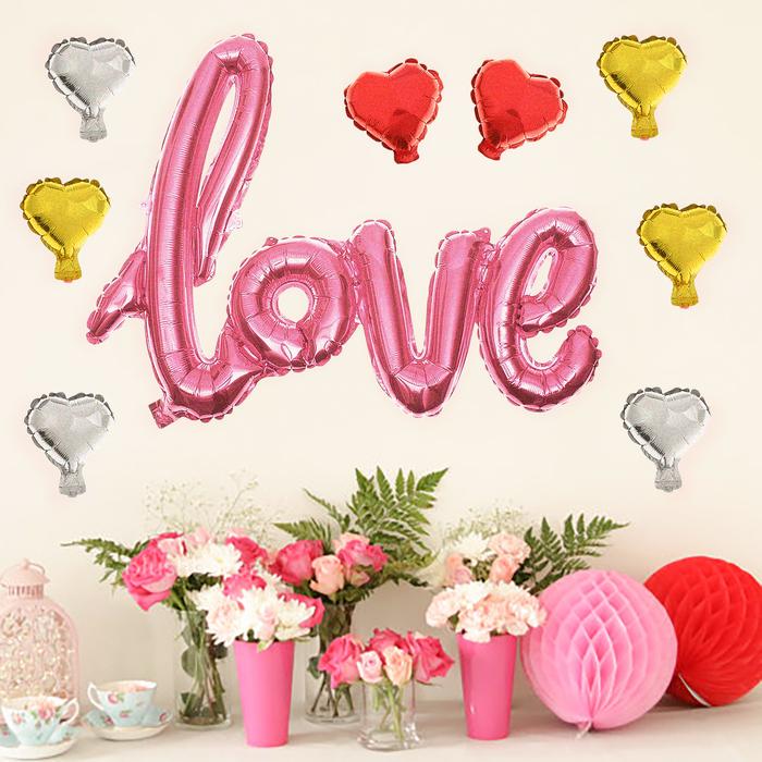 """Шар фольгированный """"Надпись Любовь"""" 38"""", прописные буквы, 8 сердец, цвет розовый"""