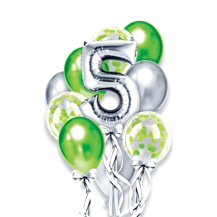 """Фонтан из шаров """"5 лет"""", для мальчика, латекс, фольга, 10 шт."""