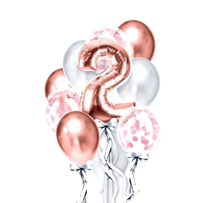 """Фонтан из шаров """"2 годика"""", для девочки, с конфетти, латекс, фольга, 10 шт."""