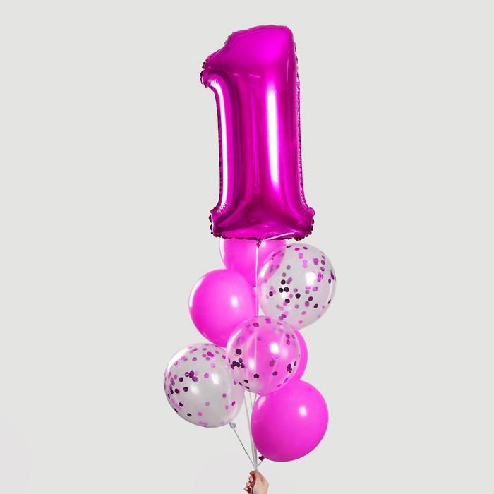 """Фонтан из шаров """"1 годик"""", для девочки, с конфетти, фольга, латекс, 8 шт."""