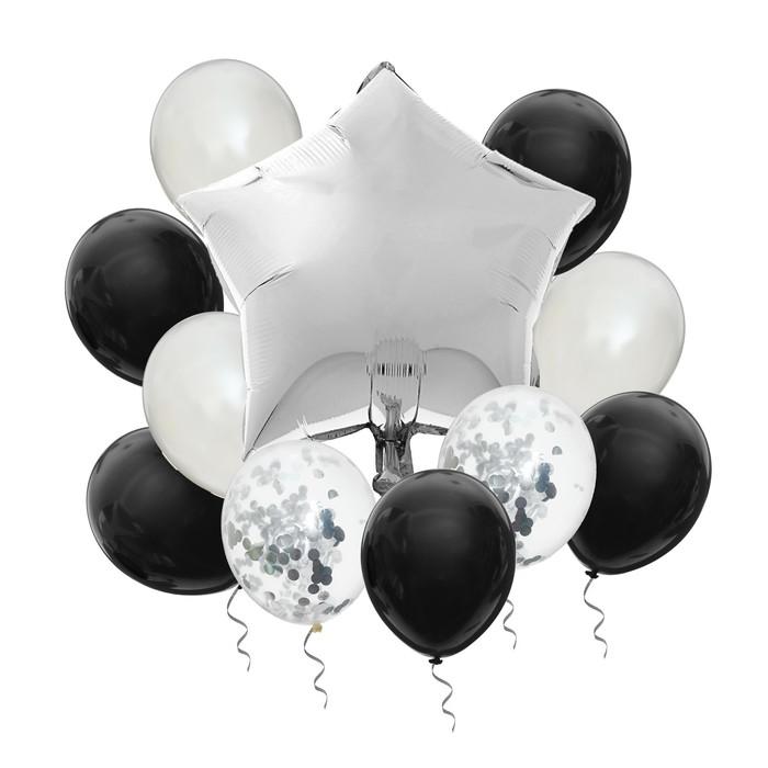 """Фонтан из шаров """"Стильный Новый год"""", с конфетти, латекс, фольга, набор 10 шт."""