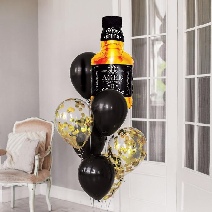 """Фонтан из шаров """"День рождения настоящего мужчины"""", латекс, фольга."""