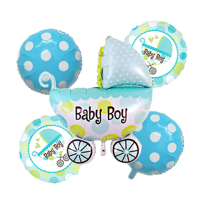 """Букет из шаров """"Рождение мальчика"""", коляска, фольга, набор из 5 шт."""