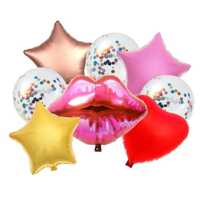 """Букет из шаров """"Поцелуй"""", фольга, латекс, набор из 9 шт."""