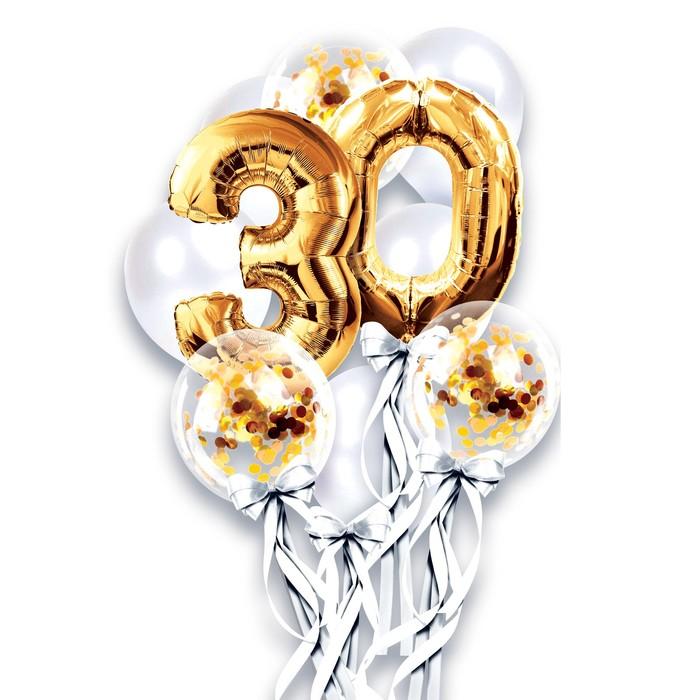 """Фонтан из шаров """"30 лет"""", с конфетти, латекс, фольга,10 шт."""
