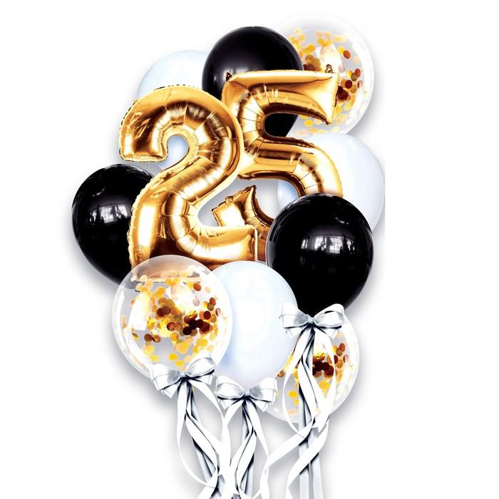 """Фонтан из шаров """"25 лет"""", с конфетти, латекс, фольга,10 шт."""