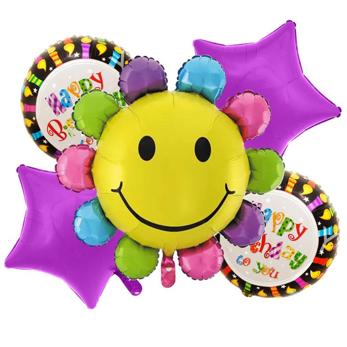 """Букет из шаров """"С днем рождения"""", ромашка, фольга, набор из 5 шт."""
