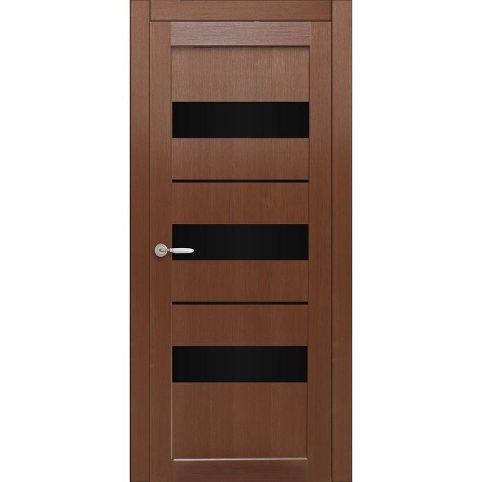 Дверное полотно остекленное Мальта Каштан, черный лакобель 2000х800