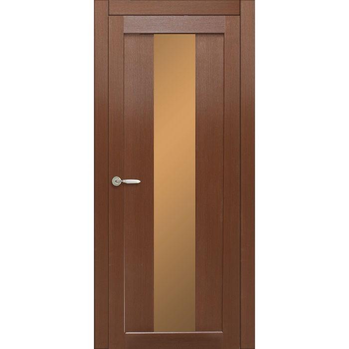 Дверное полотно остекленное Сардиния Каштан, бронза лабиринт 2000х600