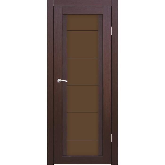 """Дверное полотно """"Челси"""" Каштан бронза сатин пескоструй """"Линии"""" 2000x900"""