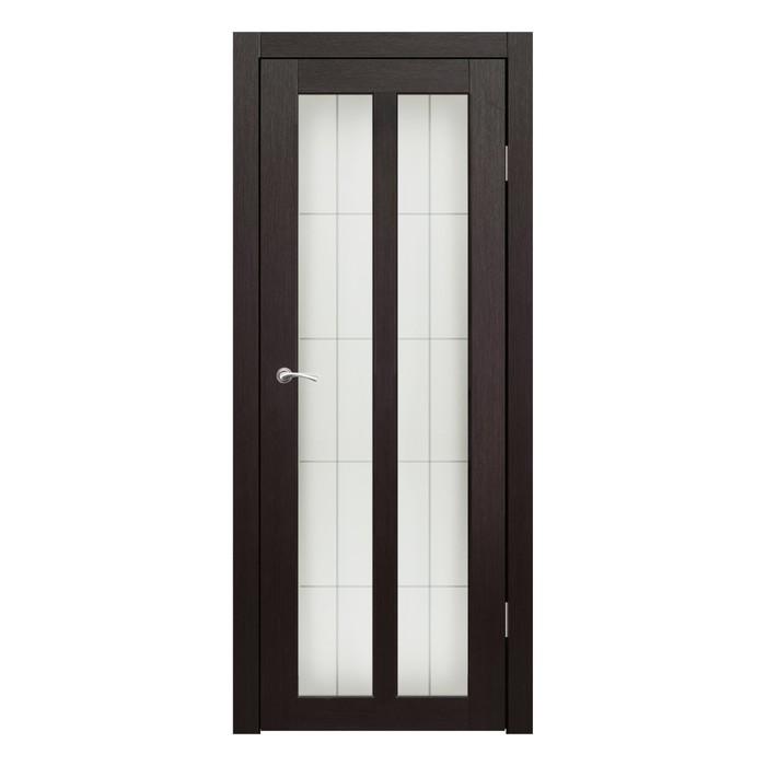 Дверное полотно остекленное Бордо Венге пескоструй клетка 2000х800