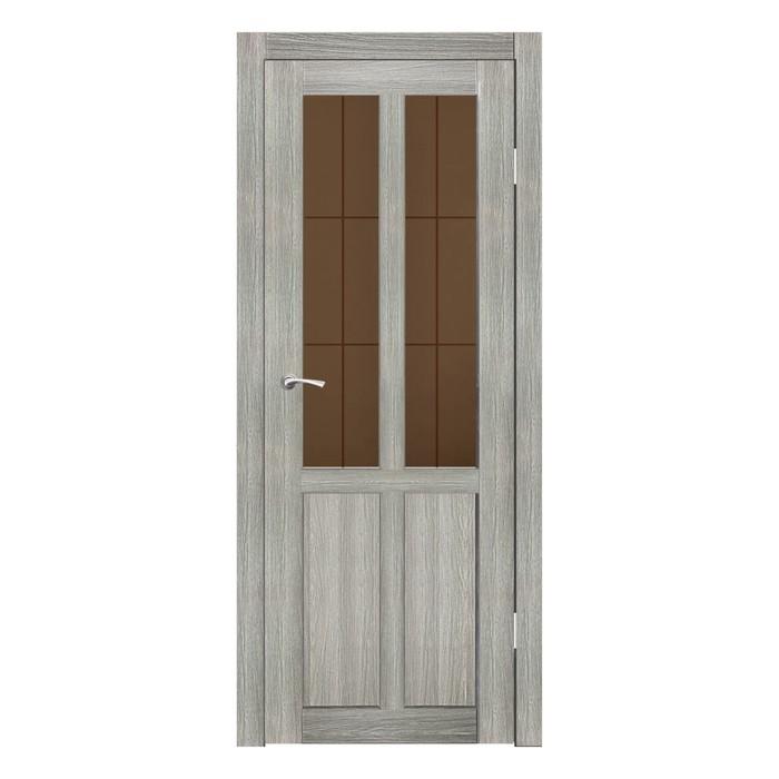 Дверное полотно остекленное Рона Джерси бронза сатин пескоструй клетка 2000х600