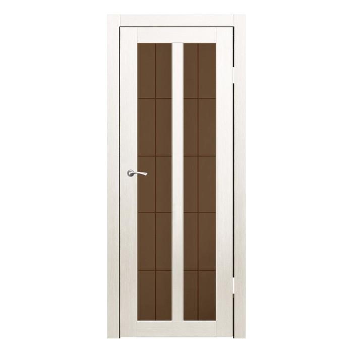 Дверное полотно остекленное Бордо Дуб перламутр бронза сатин пескоструй клетка 2000х800