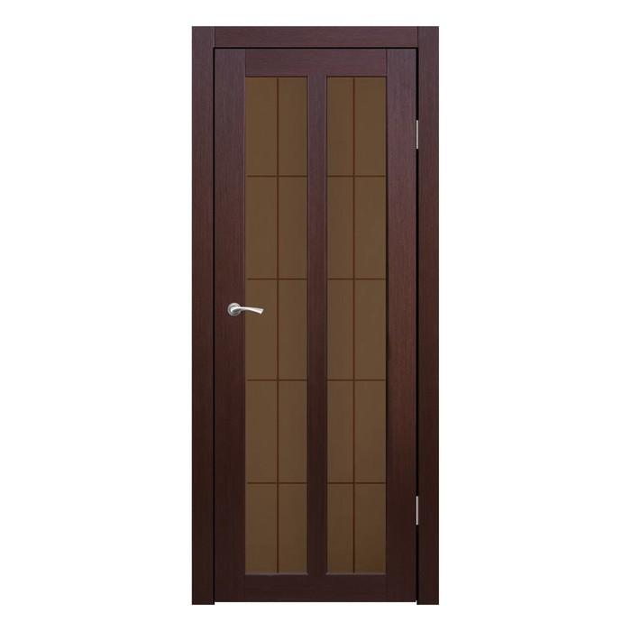 Дверное полотно остекленное Бордо Каштан бронза сатин пескоструй клетка 2000х900