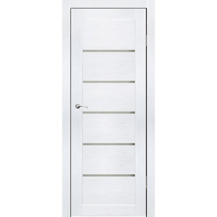 Комплект двери Киото Ясень белый, белый лакобель 2000х600
