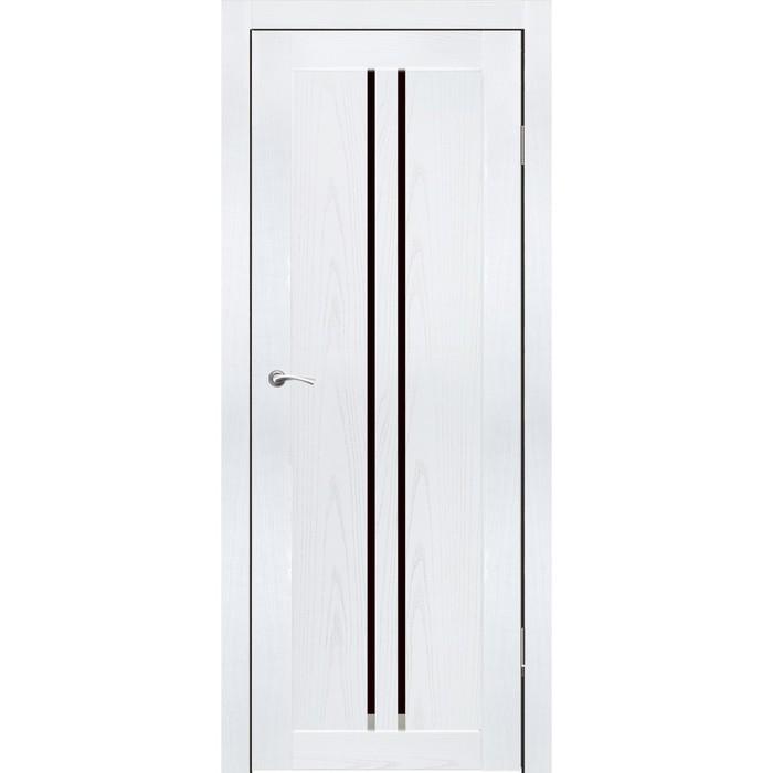 Комплект двери Токио Ясень белый, черный лакобель 2000х700