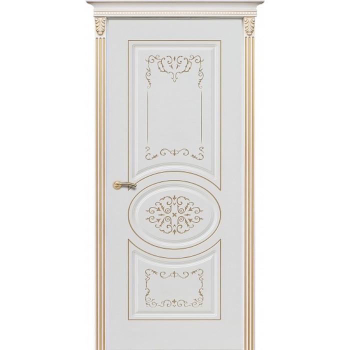 Дверное полотно К-13/Президент, 2000 × 800 мм, глухое, цвет эмаль белая / патина золото