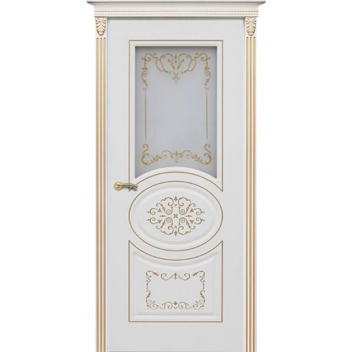 Дверное полотно «Президент», 2000 × 700 мм, фотопечать, цвет эмаль белая / патина золото