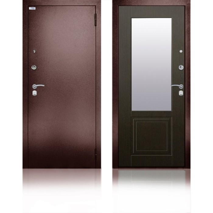 Сейф-дверь «Гала Венге», 970 × 2050 мм, правая, цвет венге структурный кофе, зеркало
