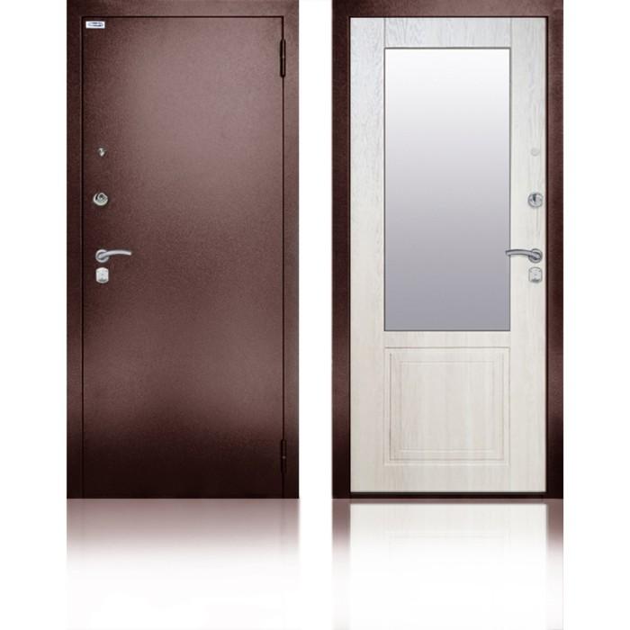 Сейф-дверь «Гала Ларче», 870 × 2050 мм, правая, цвет ларче светлый, зеркало