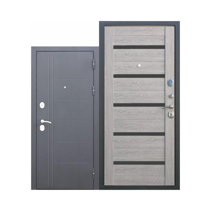 Дверь входная Троя Серебро 10 см Дымчатый дуб 2050x960 (правая)