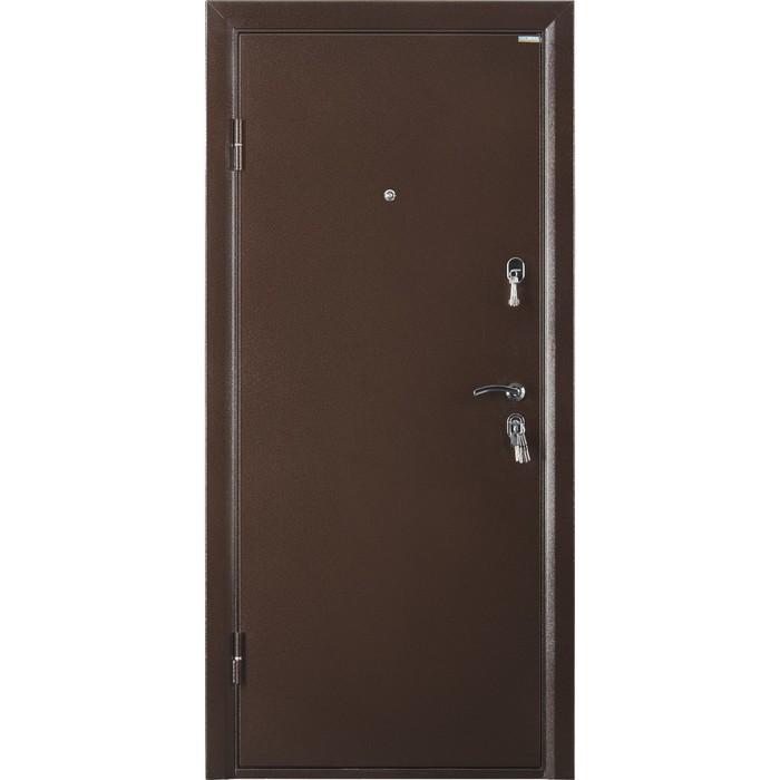 Дверь входная ПРАКТИК металл/металл, антик медь 2066х880 (правая)