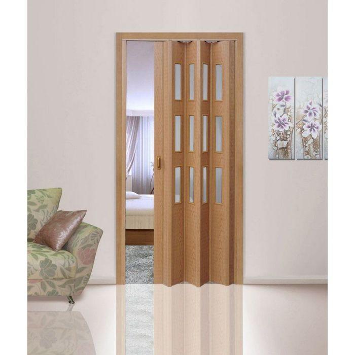 Дверь раздвижная «Фаворит», ПВХ, старый дуб, со стеклом, 2020 × 840 мм