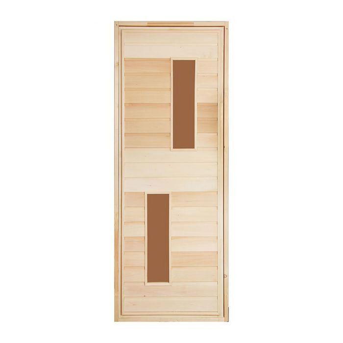 """Дверь для бани и сауны «Два стекла», 180х80см, """"Добропаровъ"""""""