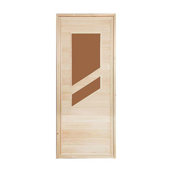 """Дверь для бани и сауны «Косое стекло», 180х80см, """"Добропаровъ"""""""