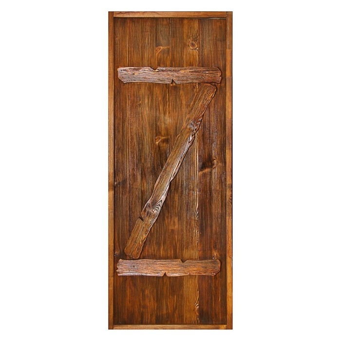 """Дверь для бани """"Классика с накладками"""", брашированная, морёная, лакированная, 180х80см"""