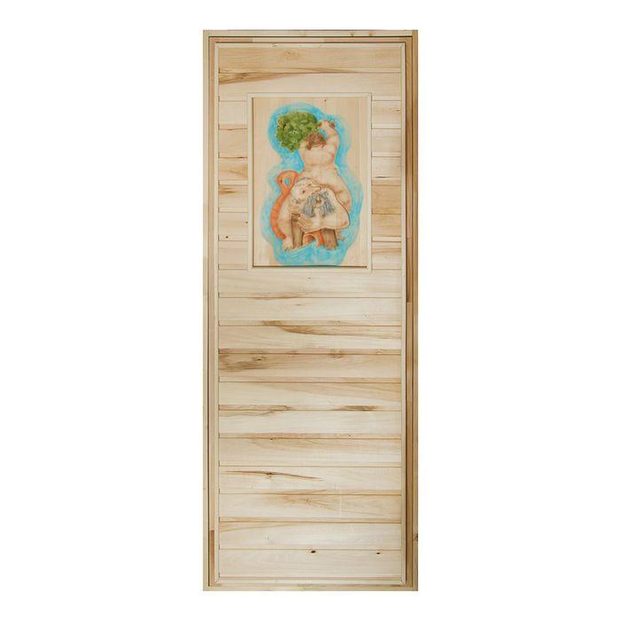 Дверь глухая для бани с резным панно, липа,  180 х 70см