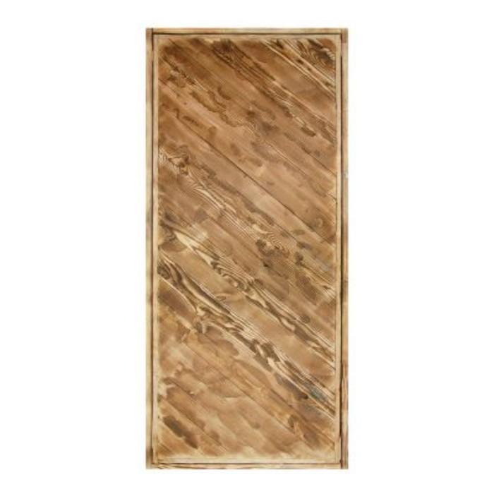 """Дверь для бани """"Диагональ"""", брашированная, обожжённая, 160х80см"""