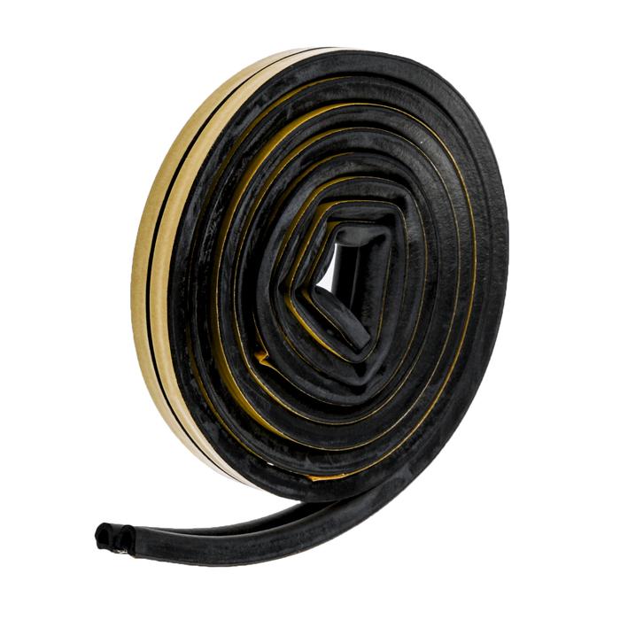 Уплотнитель резиновый  для дверей AVIORA, профиль D, черный, в упаковке 6 м