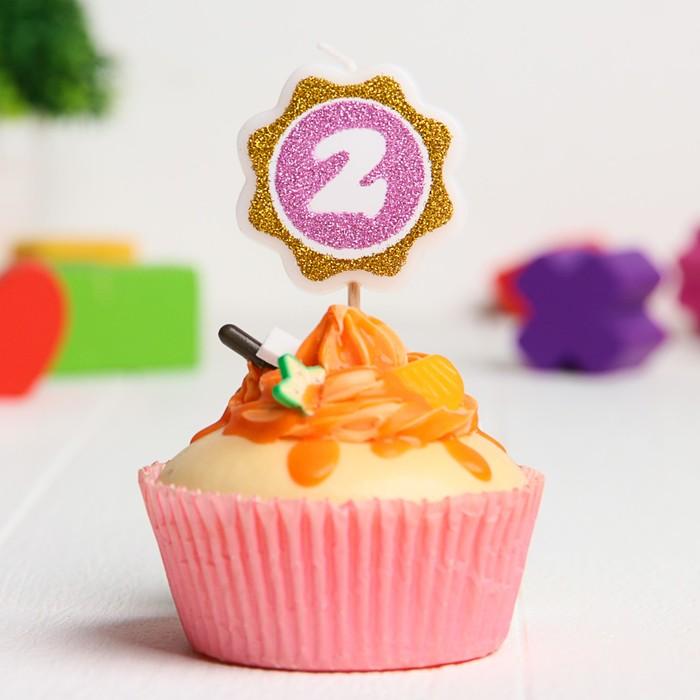 Свеча в торт цифра Дисней 2, София Прекрасная,цветок, розово-золотая