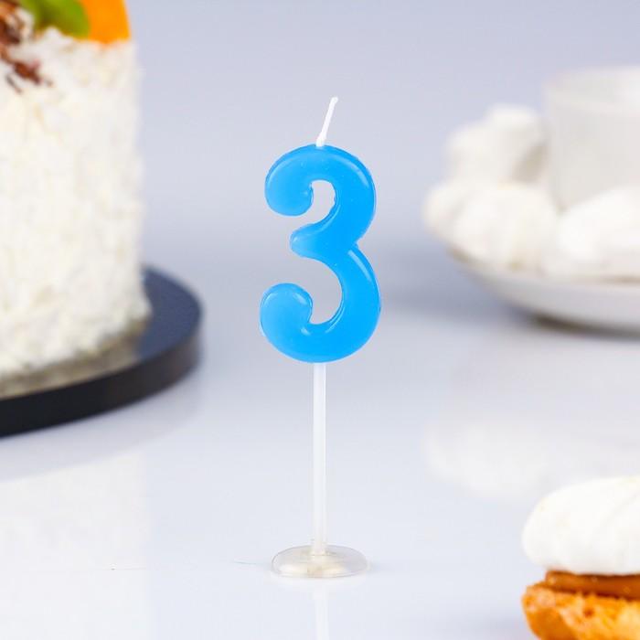 Свеча в торт цифра 3, голубой