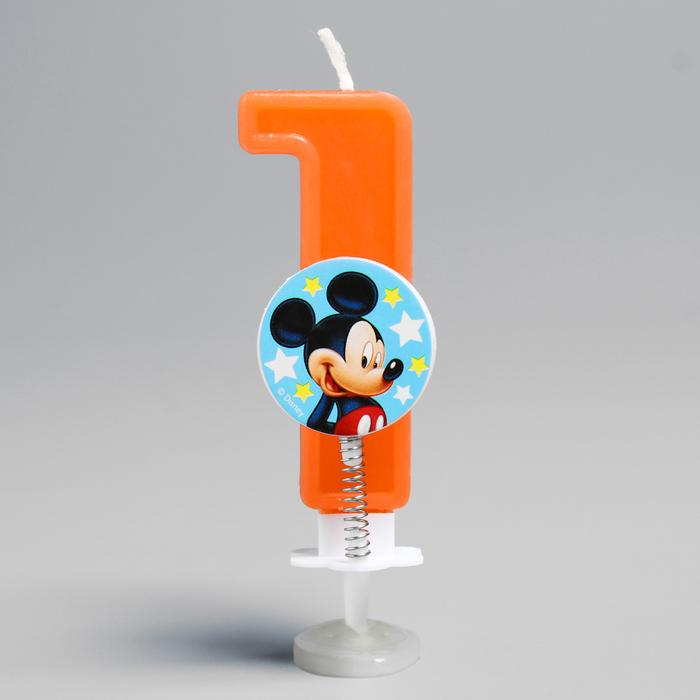 """Свеча в торт цифра Дисней """"1"""", Микки Маус"""
