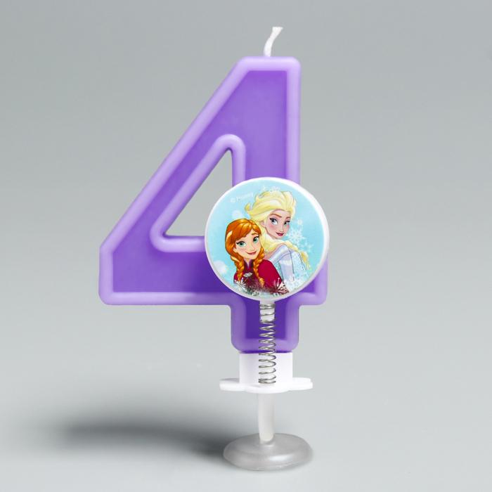 """Свеча в торт цифра Дисней """"4"""", Холодное сердце"""