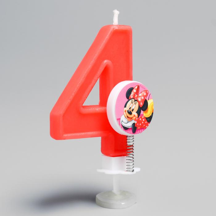 """Свеча в торт цифра Дисней """"4"""", Минни Маус"""