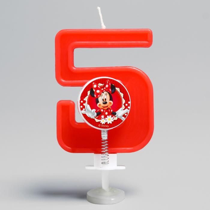 """Свеча в торт цифра Дисней """"5"""", Минни Маус"""