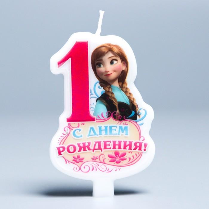 """Свеча в торт Дисней """"С днем рождения"""" цифра 1 Холодное сердце"""