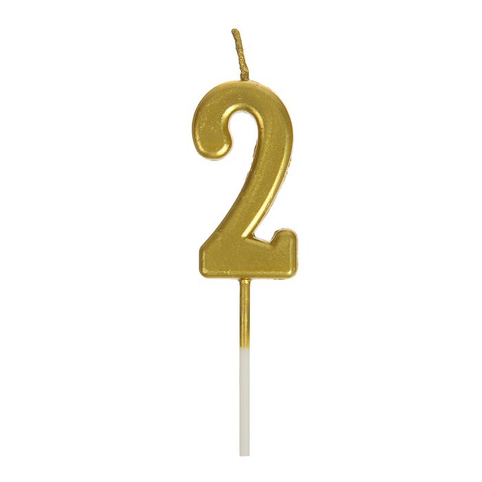 Свеча в торт цифра 2, золотой