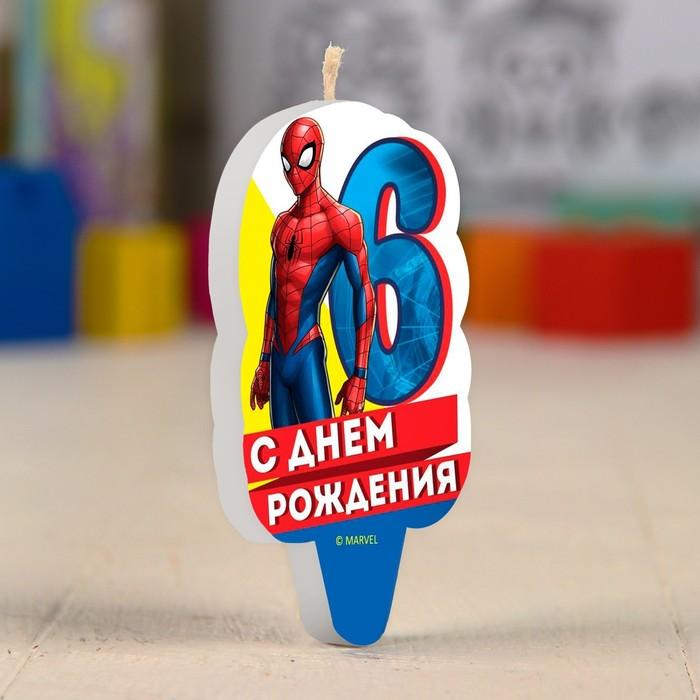 """Свеча в торт 6 """"С Днем Рождения"""", Человек-паук"""