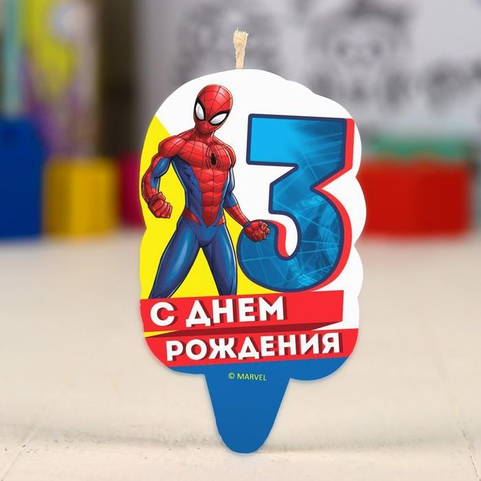 """Свеча в торт 3 """"С Днем Рождения"""", Человек-паук"""