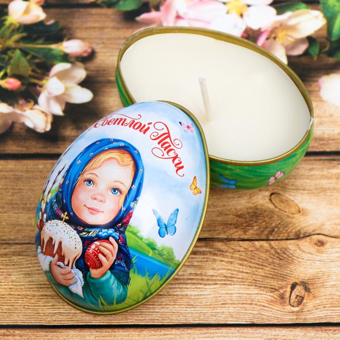 Пасхальная свеча в баночке «Светлой Пасхи!» (девочка)