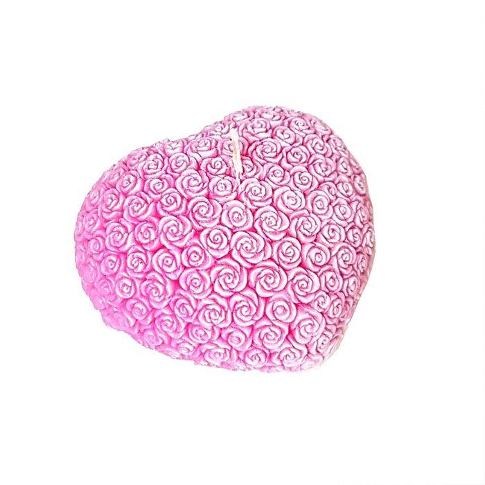 "Свеча ""Ручная работа"" сердце из роз розовое 7х8"